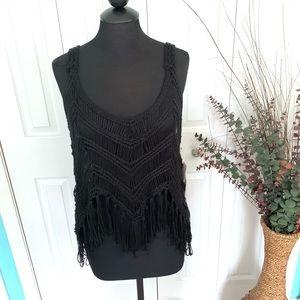 {Vintage Havana} Crochet Black Knot Boho Tank Top